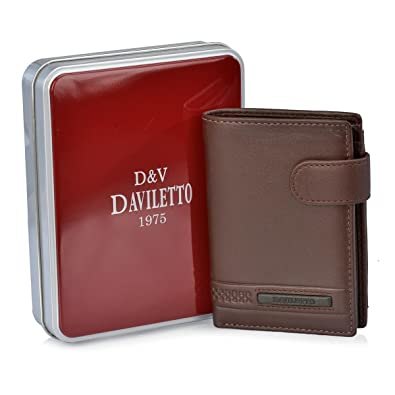 Daviletto Cartera para Hombre con Monedero 4502 (Color: Marrón)