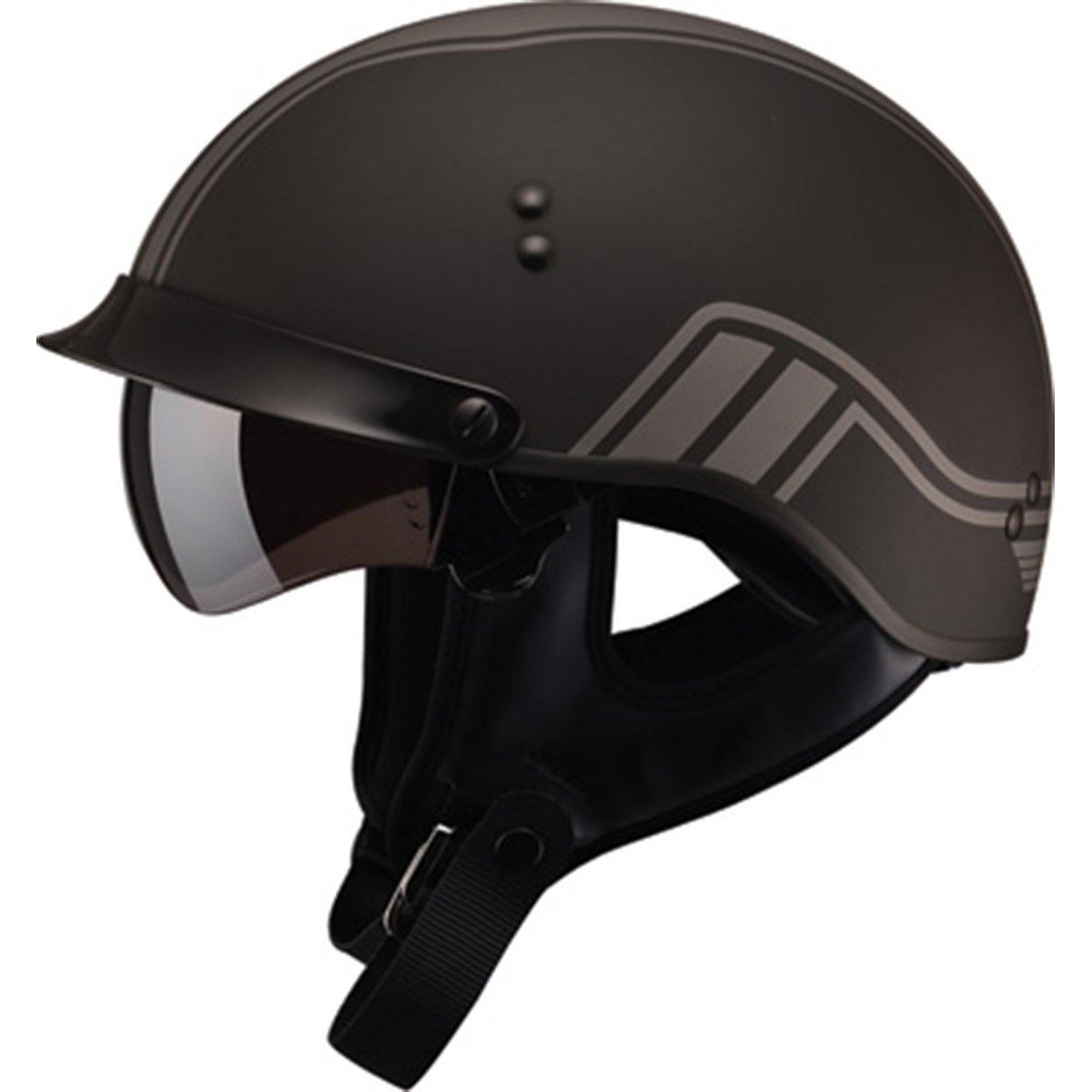 GMAX unisex-adult full-face-helmet-style Helmet (Gm65 Full Dressed Half Twin) (Flat Black/Silver, Medium)