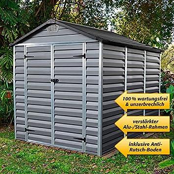 Cobertizo para jardín (1, 8 x 2, 4 m), incluye suelo, color gris: Amazon.es: Jardín