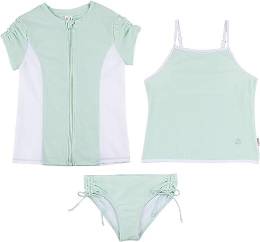 Multiple Colors SwimZip Girl 3 Piece Long Sleeve Rash Guard /& Tankini Swim Set