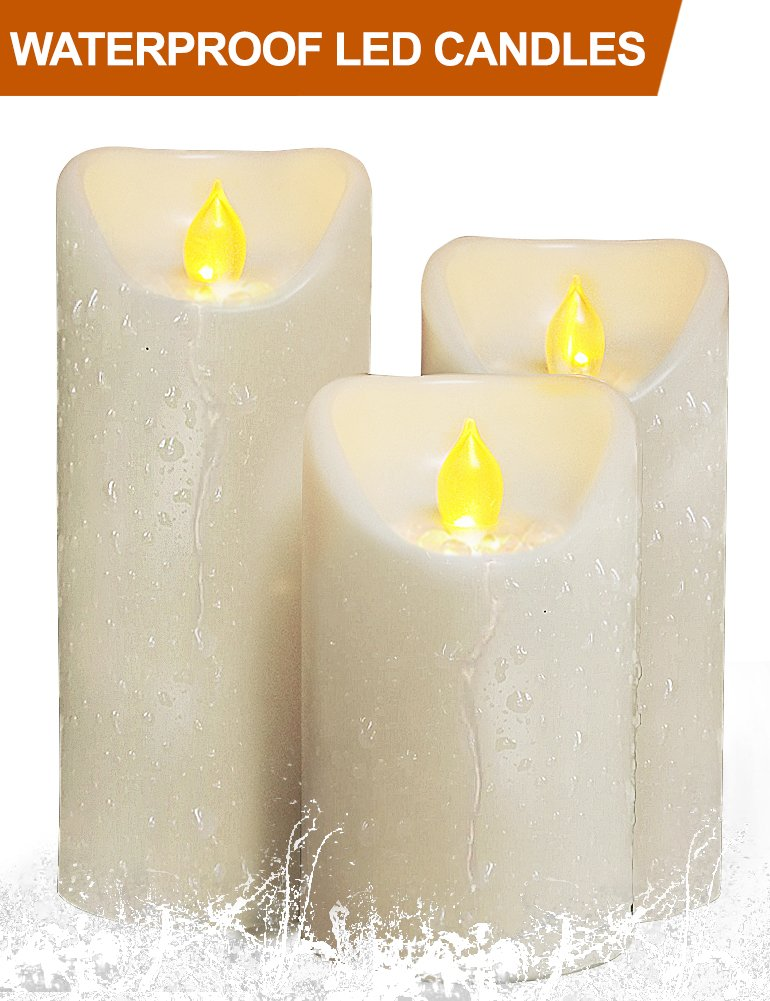 HOME MOST Set of 3 LED Pillar Candles Battery Operated (IVORY, 5''/6''/7'' Tall, Oblique Edge)- Flameless Candles Timer Outdoor Candles Waterproof - Electric Candles Battery Operated Plastic Candles Bulk by HOME MOST (Image #7)