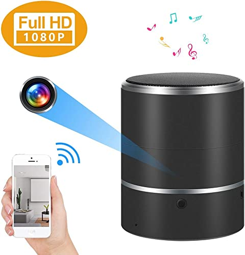 Hidden Camera 1080P WiFi Spy Camera Bluetooth Speaker with 180 Rotate Lens and Motion Detection Black