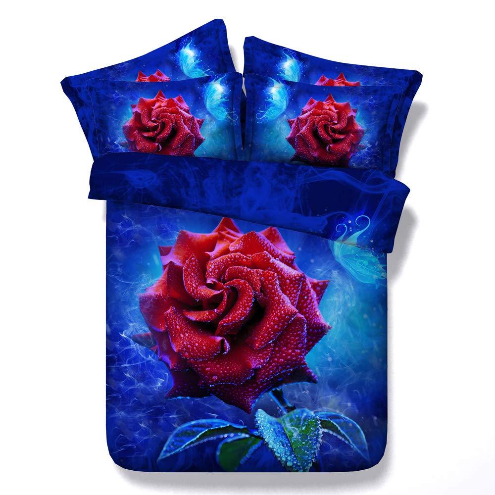 CHAOSE Bettwäsche Set,Superweiche Polyester-Baumwolle,3D Digital HD Malerei 3-teilig (1 Bettbezug + 2 Kissenbezüge) (Eisblaue Rose, Double Größe(200x200cm+2 70x50cm 1.8M Breites Bett))