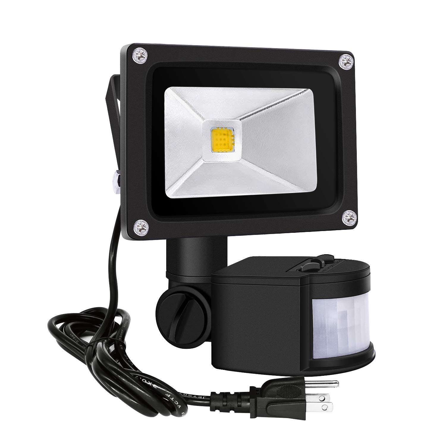Motion Sensor Led Flood Lights 10W Outdoor Security Floodlights IP65 Waterproof Spotlight Auto ON/Off Induction LED Lamp with US 3-Plug 1000LM,3200K,AC86-265V (Warm White-B)