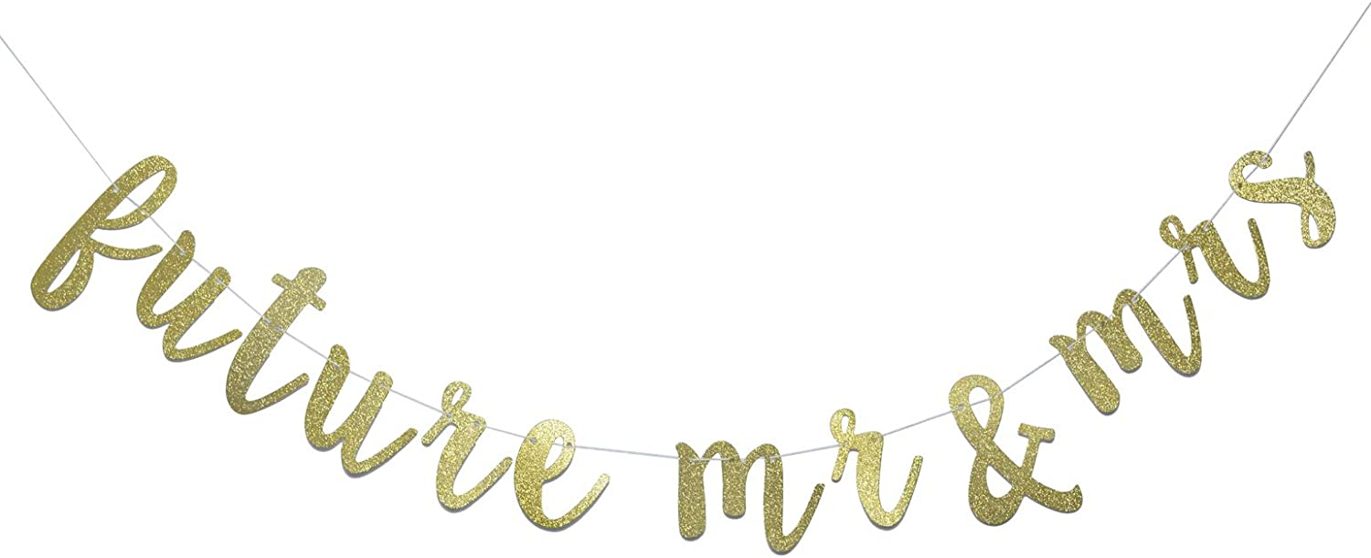 Future Mr & Mrs Banner for Engagement Bridal Shower Bride and Groom Party Decorations Pre-Strung Sign (Gold Glitter)