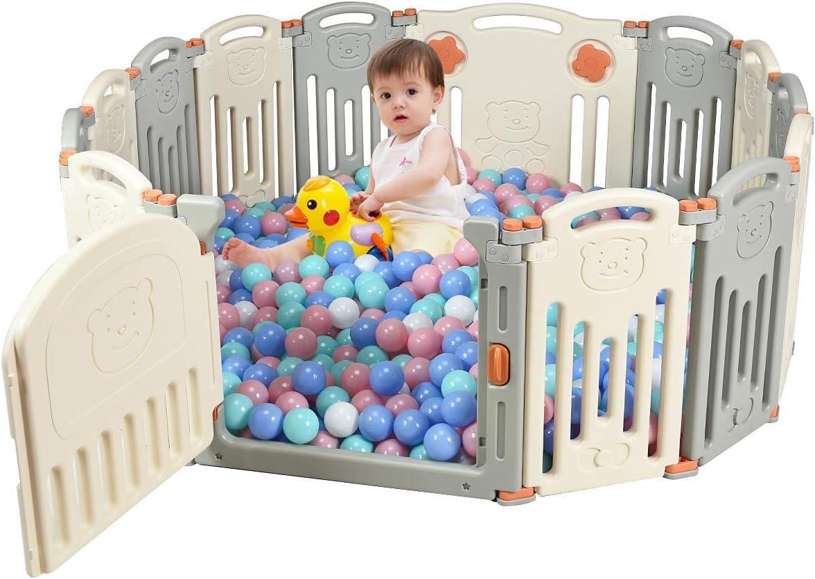 COSTWAY Parque Infantil Bebé Plegable Barrera de Seguridad con Puerta y Cerradura Valla de Juego (Beige y gris)