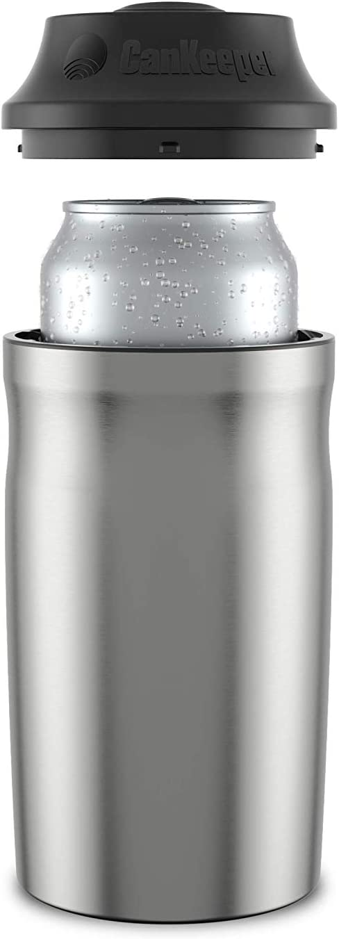 CanKeeper - Keep Your Can Cold For Hours - Double Walled and Vacuum Insulated Can Cooler - Lid Keeps Cold In, Dirt Out - FITS STANDARD 12oz CANS ONLY - Stainless
