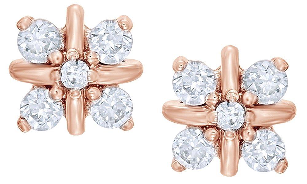 Weißszlig; natürlicher Diamant Cluster  x Ohrstecker in 14 ct 585 Weißszlig; Gold massiv (0,37 Karat) 14 Karat RotGold