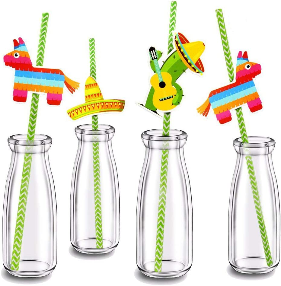 Finico Set of 36,Paper Straw Decor,for Mexican Fiesta Party,New Pattern Mexican Fiesta Party Striped Decorative Straws