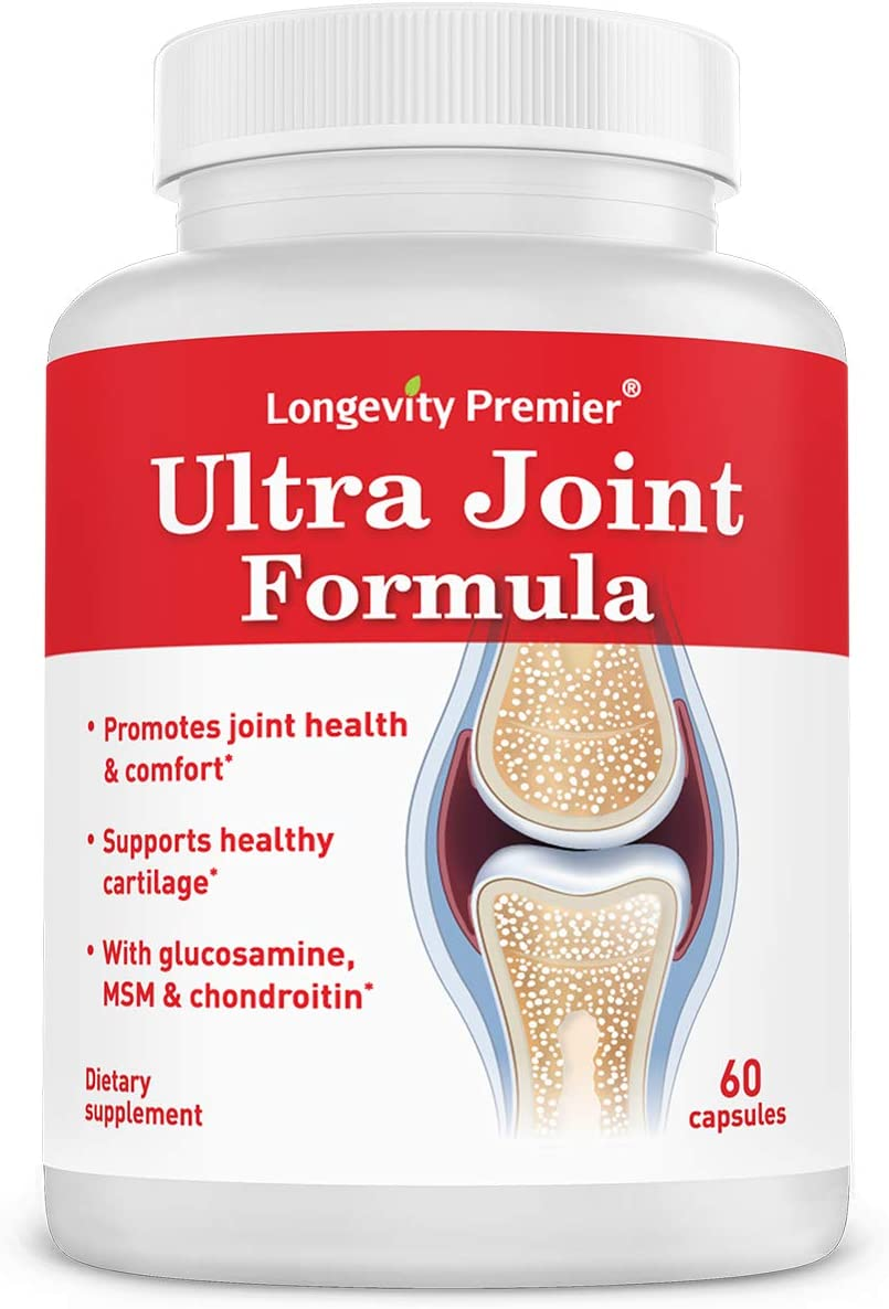 Glucosamine Chondroitin with Turmeric MSM Boswellia - Longevity Ultra Joint Formula for Relief, Support and Health. Joint Supplement for Men and Women.