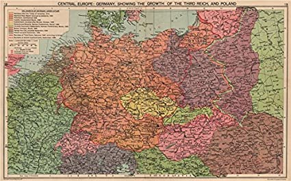 Map Of Germany In 1940.Nazi Germany Growth Of The Third Reich Occupied Poland Sudetenland