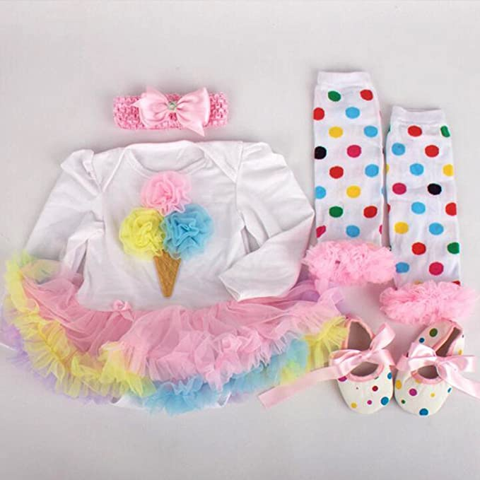 "Review Reborn Dolls Baby Clothes OutfitsTutu Dress for 20""- 22"" Reborn Doll Girl Baby Clothing Baby Flower Dress"