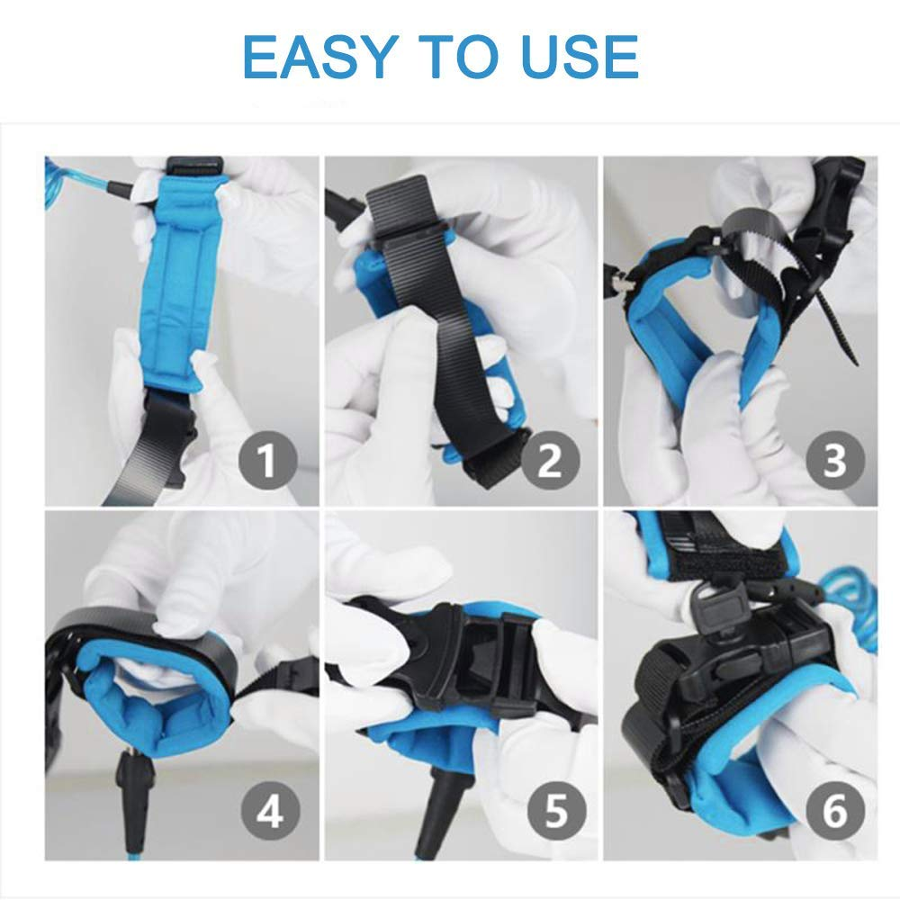 Baby Harness for Walking Anti Lost Wrist Link Belt Adjustable Children Wrist Rope with Lock Blue+Black+1.5Meters 1.5M Belts and Wristband 2 in 1 Combination Kit / Safety Harness for Kids