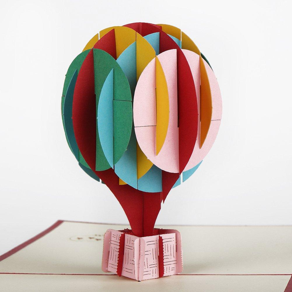 Echeer Paper Hot Air Balloon Pop up Birthday Greeting Cards, Wedding ...