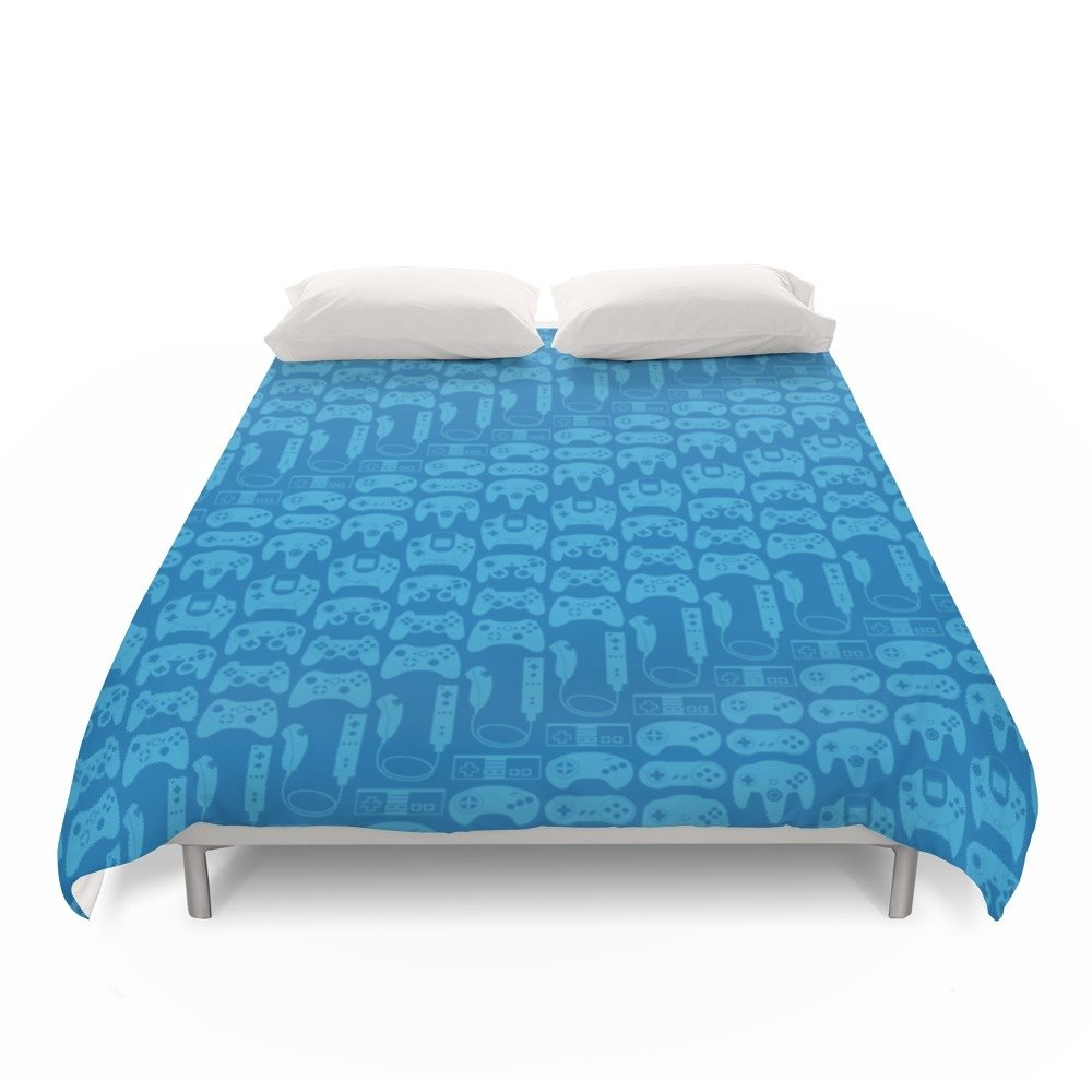 Society6 Video Game Controllers - Blue Duvet Covers King: 104'' x 88''