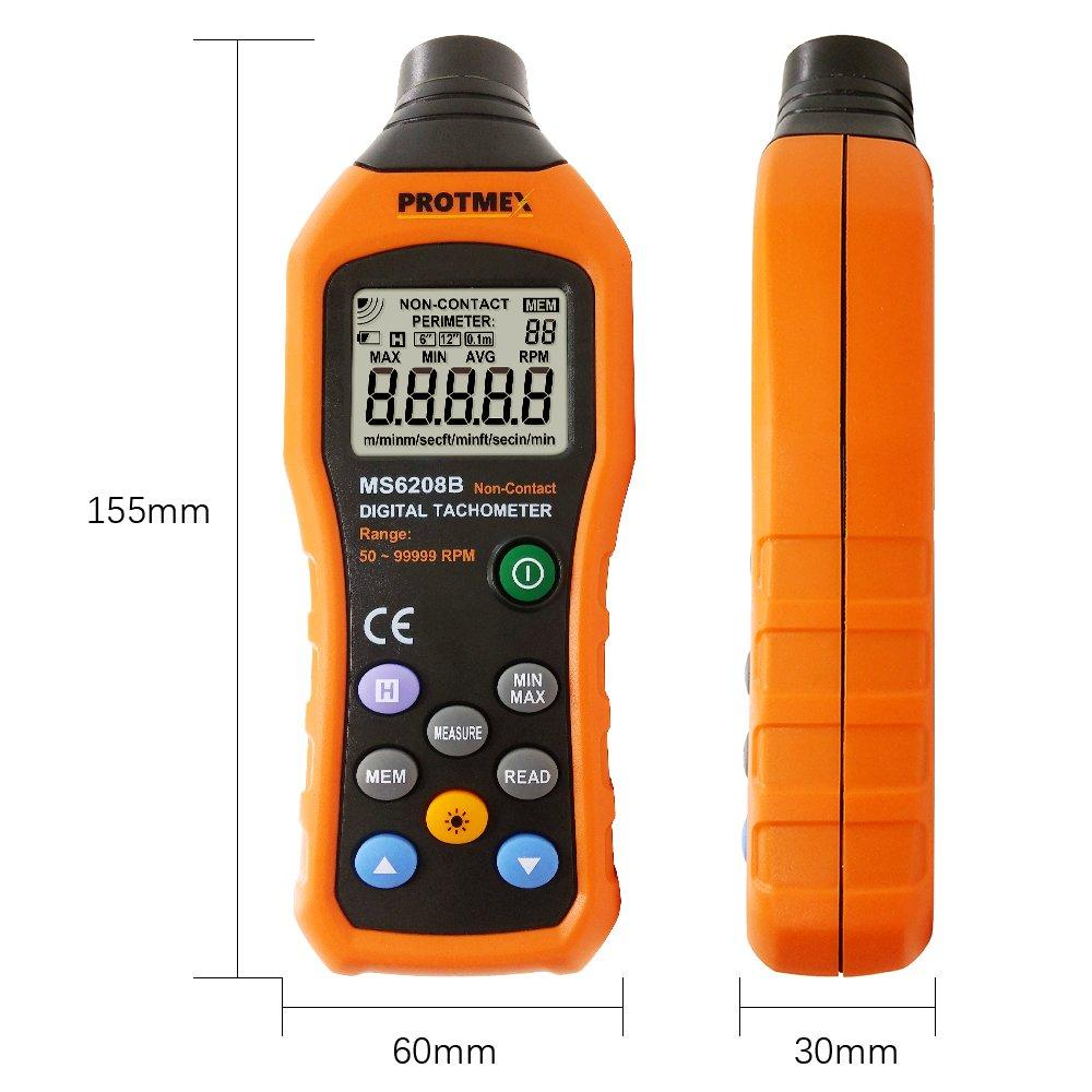 YYONGAO Digital Tachometer Lightweight Portable Sturdy Durable SM8238 Digital Multi-Functional Recording Tachometer RPM Record Meter Tester