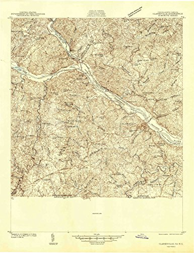 YellowMaps Clarksville VA topo map, 1:48000 scale, 15 X 15 Minute, Historical, 1941, 26.8 x 20.7 IN - Paper