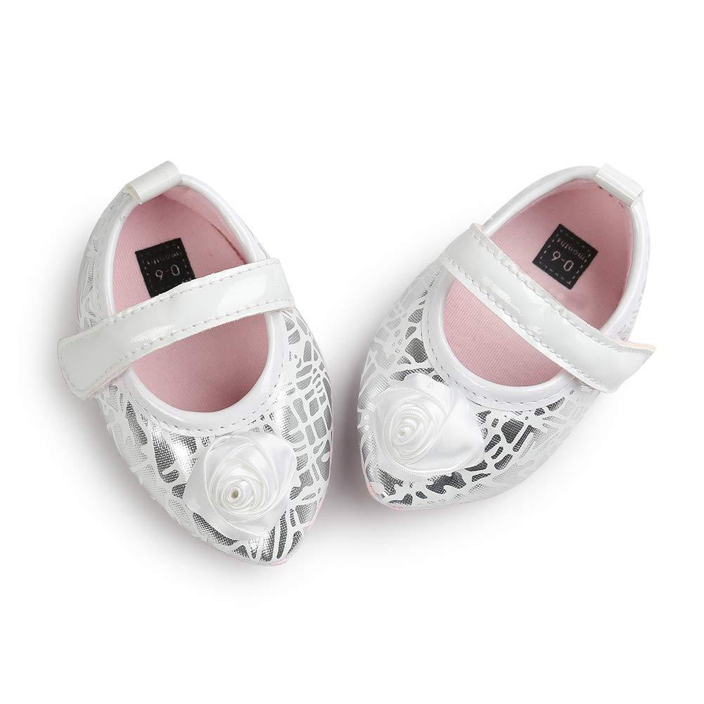 Pink Flower 12cm Alamana Flower Bowknot Infant Baby Girls Soft Sole Anti-Slip Prewalker Toddler Shoes