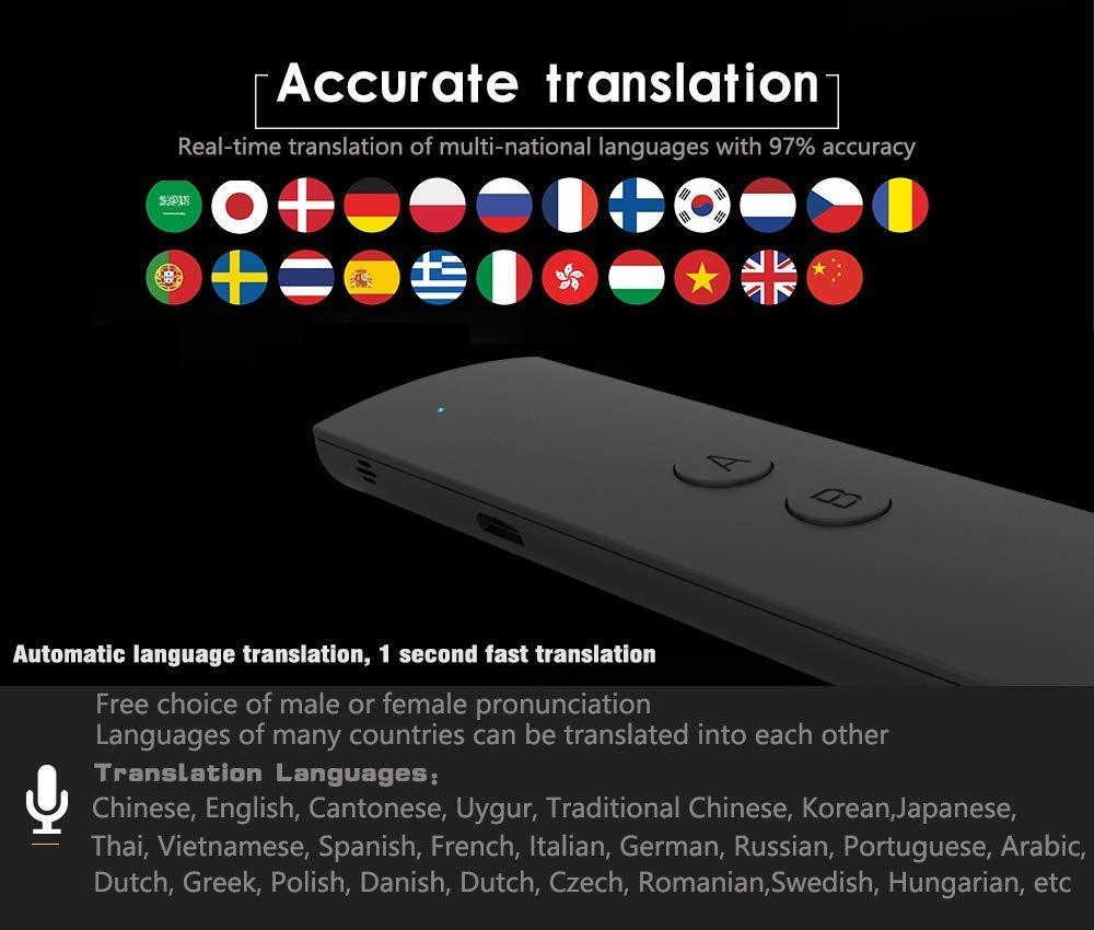 T8S- Schwarz intelligenter /Übersetzer mit 40 Sprachen Tragbarer Bluetooth Smart Pocket Interpreter Sprach/übersetzer in Echtzeit-Sprache