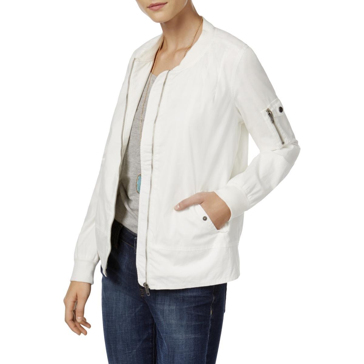 Style & Co.. Womens Petites Poplin Zip Front Bomber Jacket White PL