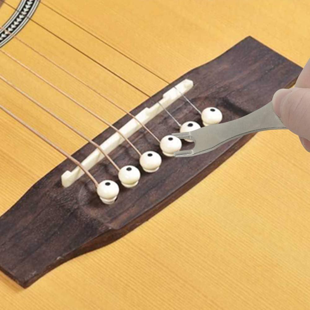 DanziX Guitar Bridge Pins with Removal tool+6 Guitar Picks-Black+White 12 Pack Guitar Bridge Pins