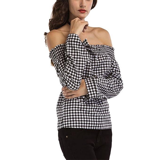 Las Blusas de Las Mujeres de la Moda del Otoño Señoras de la Llegada del Hombro superan la Blusa de la Tela Escocesa de la Blusa de la Manga Larga Informal: ...