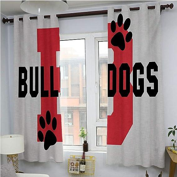 Flyererhome - Cortinas con diseño de Bulldog inglés para habitación de niños, Estilo Bicolor de Dibujos Animados, diseño Abstracto de Animales, Ojales opacos, Color marrón: Amazon.es: Hogar