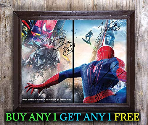 Andrew Garfield Jamie Foxx Spiderman 2 Autographed 8x10 Photo Reprint #18 Special Unique Gifts Ideas for Him Her Best Friends Birthday Christmas Xmas Valentines Anniversary Fathers Mothers Day