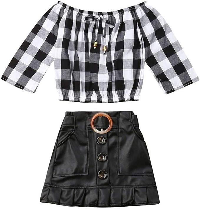 Conjunto de 2 Faldas de Piel para niñas de Manga Larga con Hombros ...
