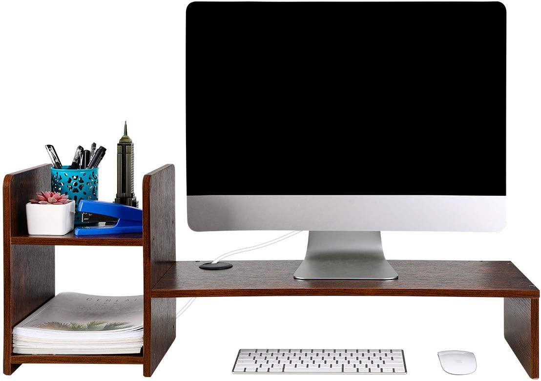 PAG Desktop Bookshelf Monitor Printer Stand Computer Riser Wood Desk Organizer for Home/Office/School, Retro Brown