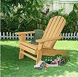 K&A Company Natural Fir Adirondack Chair Wood Garden Patio Outdoor Deck Furniture