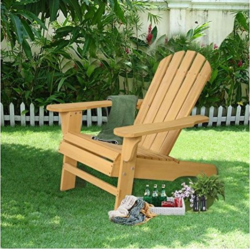 K&A Company Natural Fir Adirondack Chair Wood Garden Patio Outdoor Deck Furniture by K&A Company