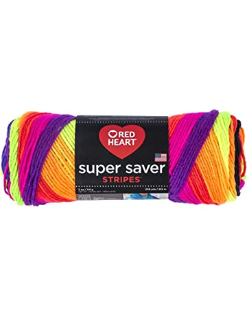 RED HEART E300.4970 Super Saver Yarn 5 Ounces Bright Stripe 1432f1426e4e