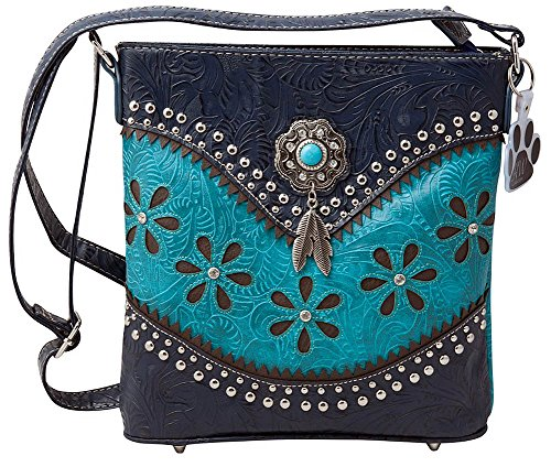 HW Collection Western Hanging Feather Tassels Tooling Flower Concealed Carry Crossbody Handbag Purse (Turquoise) ()