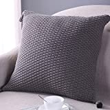 Sanifer Knit Pillow Cover Tassel Decorative Pillow Case Cushion Cover Pillow Case for Sofa Couch (Cover Only, Gray)