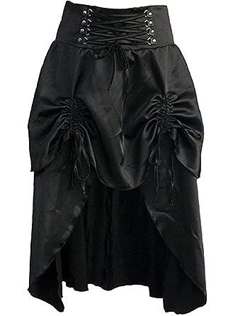 Martya Damen Burlesque Kleid Steampunk Gothic Kostüm Spitze Langer Rock  Schwarz e010248bcb