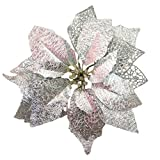 NOVELTY GIFTS1 Glitter Poinsettia Christmas Tree Ornaments Pack of 12 (Silver)
