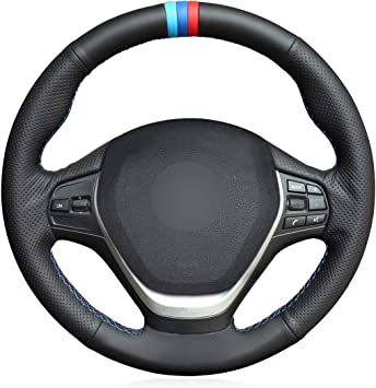 Black Steering Wheel Cover Soft Grip Leather Look for BMW 3 Series Convertible