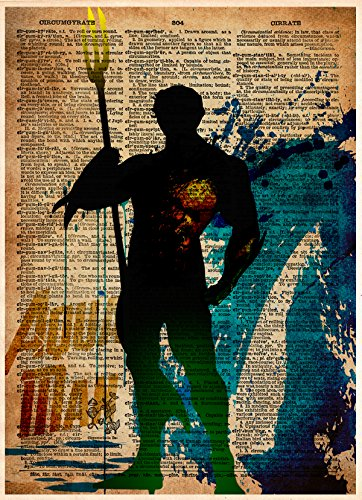 Print Aqua Fan (Aquaman art print, superhero artwork, Justice league dictionary art)