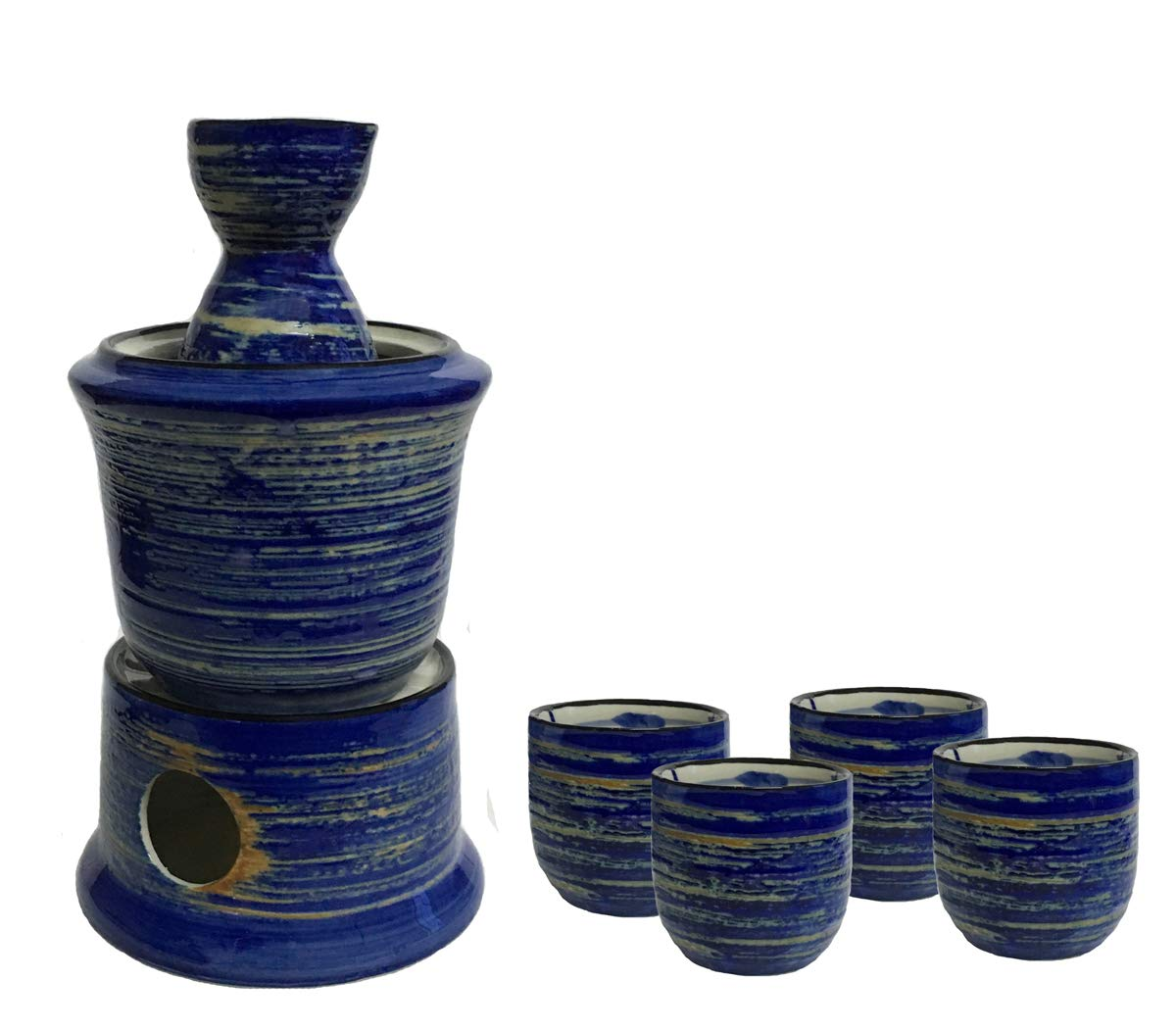 KCHAIN Ceramic Sake Warmer Set with 4pc Sake Cups, 1pc Sake Bottle, 1pc Warmer Pot, 1pc Heating Pot