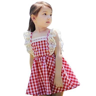 8028fdf811b77 Cutelove 子供ドレス ワンピース 女の子 格子柄 レース フライ袖 可愛い 夏 赤ちゃん 素敵 おしゃれ ドレス
