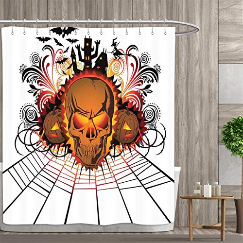 Halloween Shower Curtains Fabric Extra Long Angry Skull Face on Bonfire Spirits of Other World Concept Bats Spider Web Design Bathroom Accessories 96