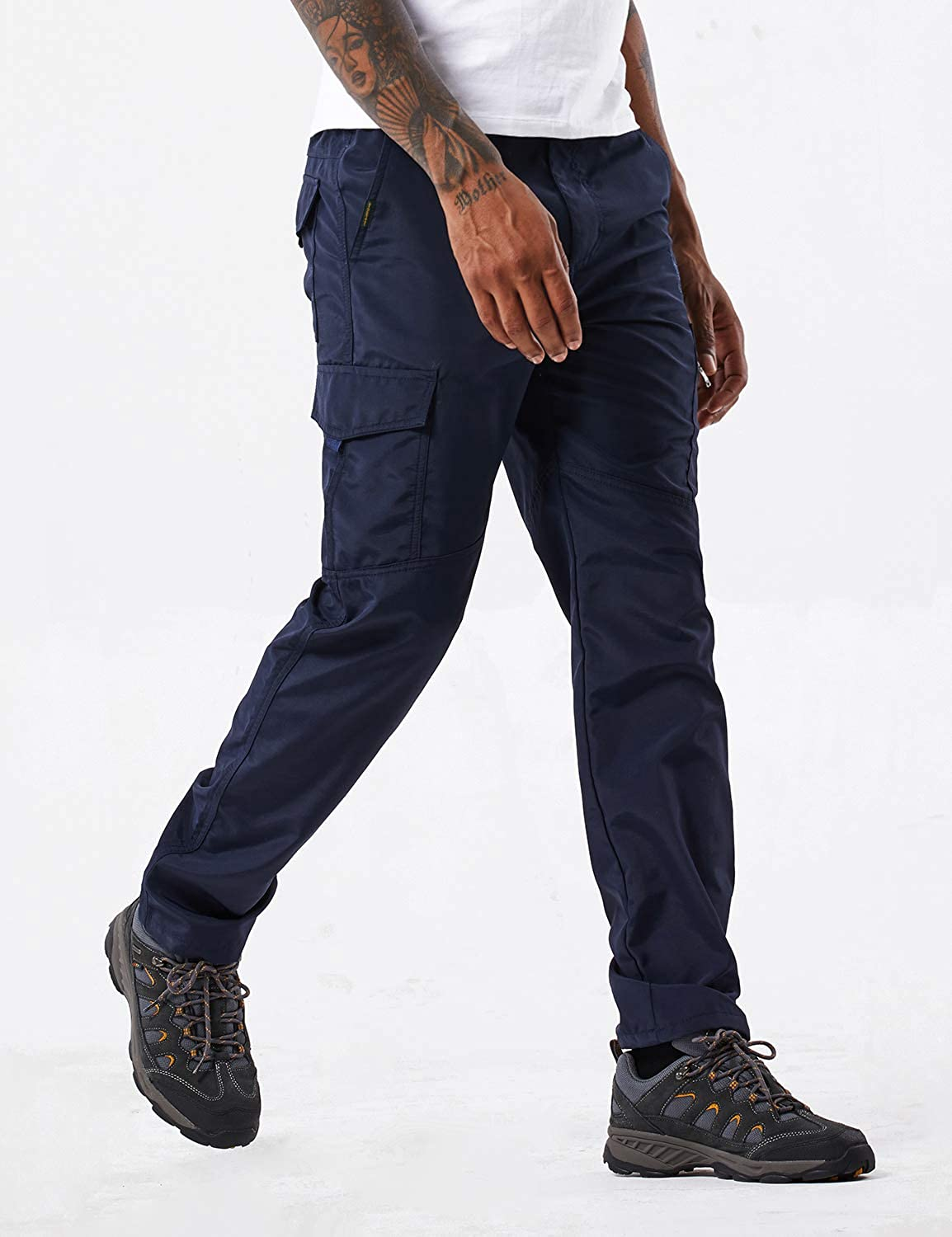 Mens Outdoor Hiking Pants Lightweight and Thick Fleece Cargo Climbing Camping Ski Trousers with Belt