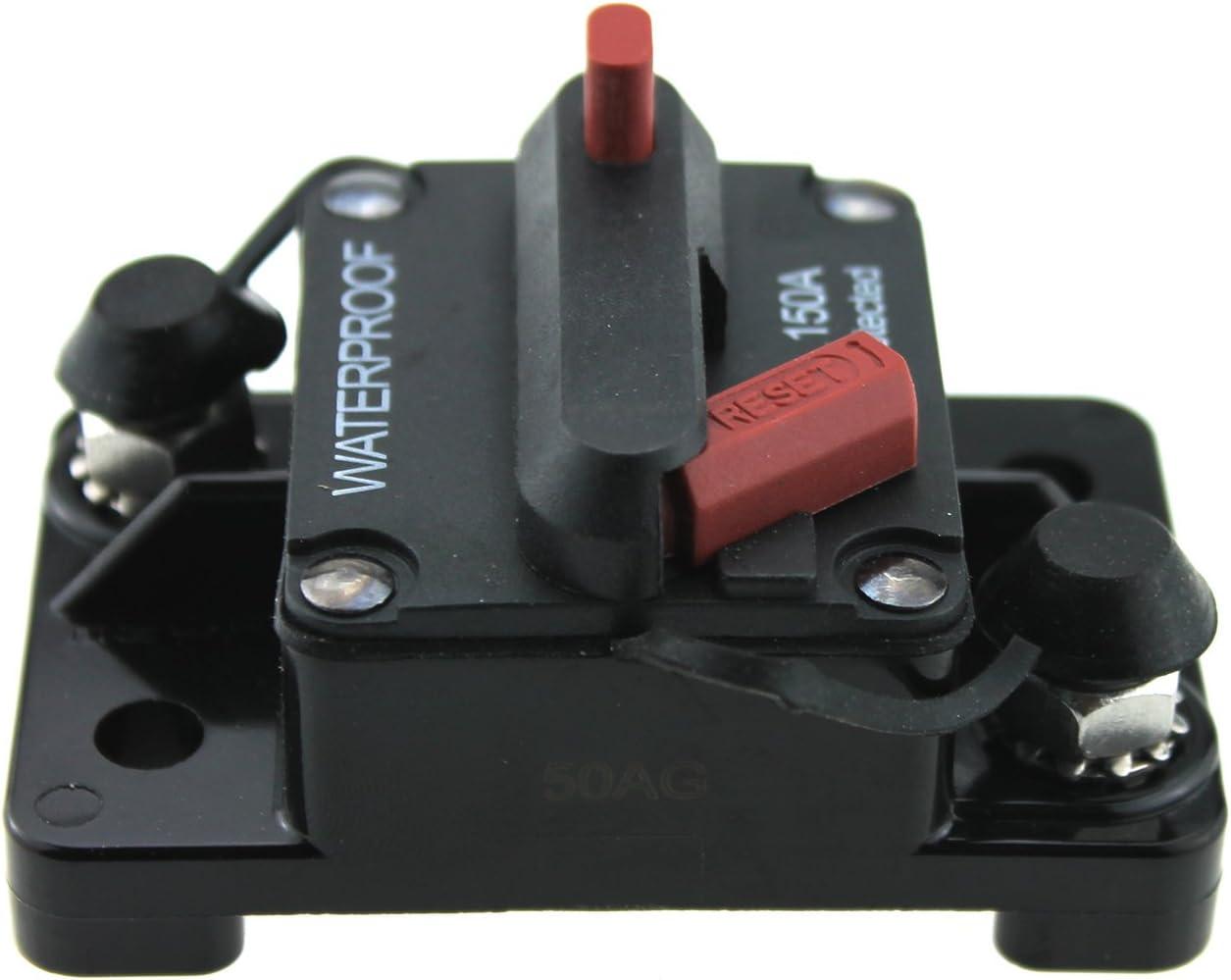Ambuker 12V-48VDC Waterproof 150 Amp Circuit Breaker with Manual Reset