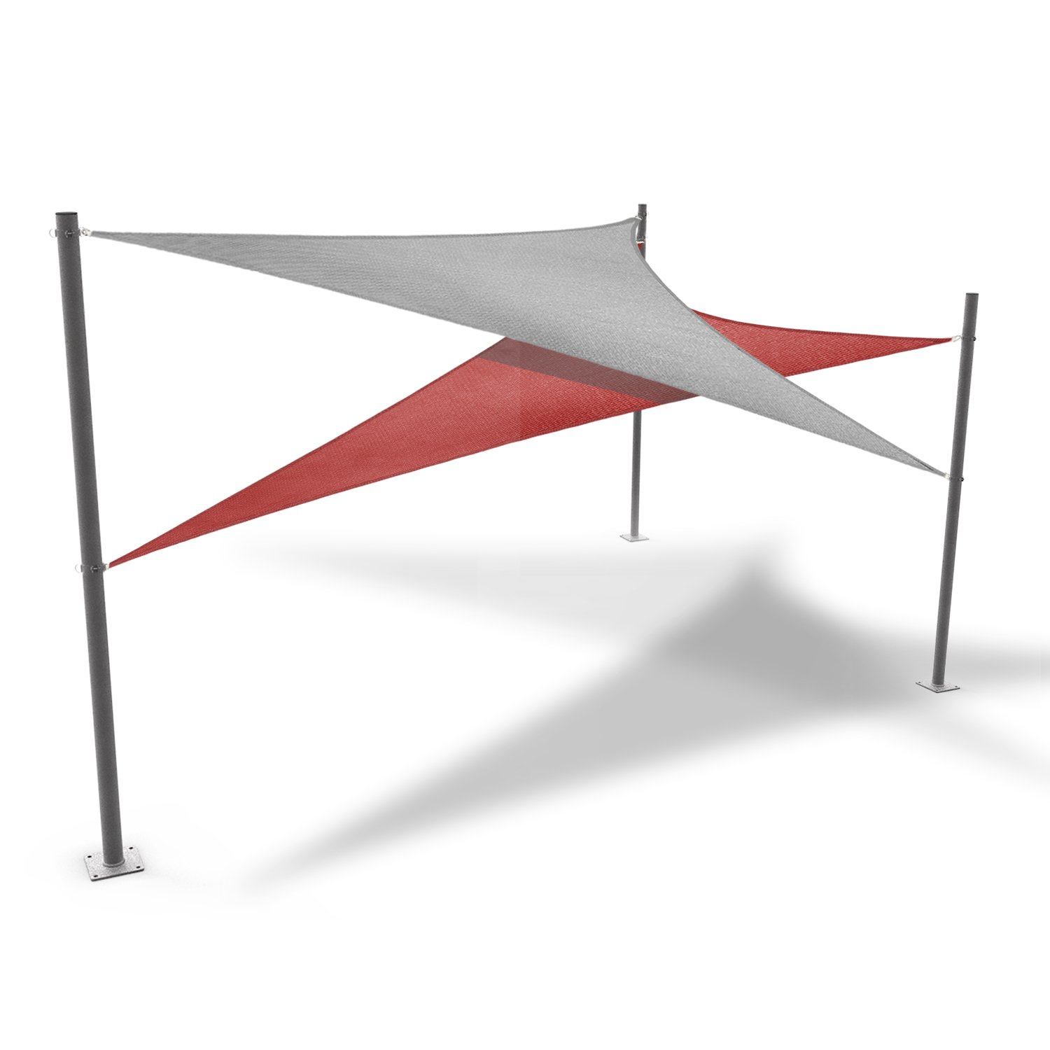 Windscreen4less 96'' Sun Shade Sail Pole,Knitted Shade Sail Stand Post,Awning Support Poles,Canopy support poles,Strengthen,Heavy-duty support-steel - gray by Windscreen4less (Image #6)