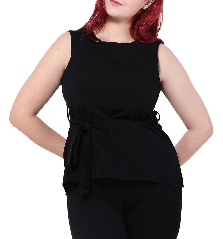 Smile YKK Femme Plus Size Débardeurs Chiffon Uni Elastique Mode Slim Tops Peplum T-shirt