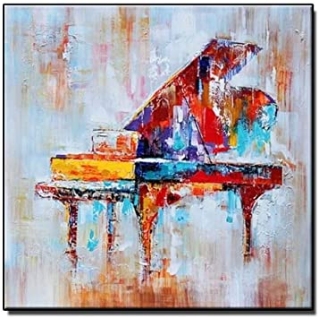 Piano canvas picture print abstract watercolour style wall art free delivery