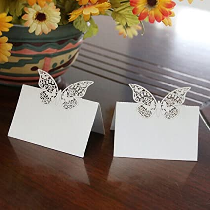 Pixnor 48pcs Table Place Cards Wedding Party Birthday Decoration Hollow Butterfly Style