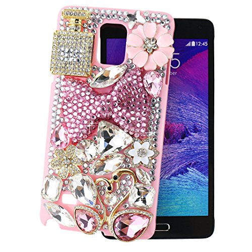 Ancerson® Hard Back Case for Samsung Galaxy Note 4 IV N9100 Pink Bow Bowknot Golden Perfume Bottle Golden Pink Rain Drop Swan Couple White Daisy Golden Flower Silvery Butterfly Plum Blossom Pink Floral Rain Drop 3D Handmade Luxury Shining Glitter Crystal Diamond Rhinestones Cover Free with a Red Stylus Touchscreen Pen, a 3.5mm Universal Crystal Diamond Rhinestones Bling Lovely Silvery Flower Blue Panda Pendant Dust Plug and a Cleaning Cloth (Pink)