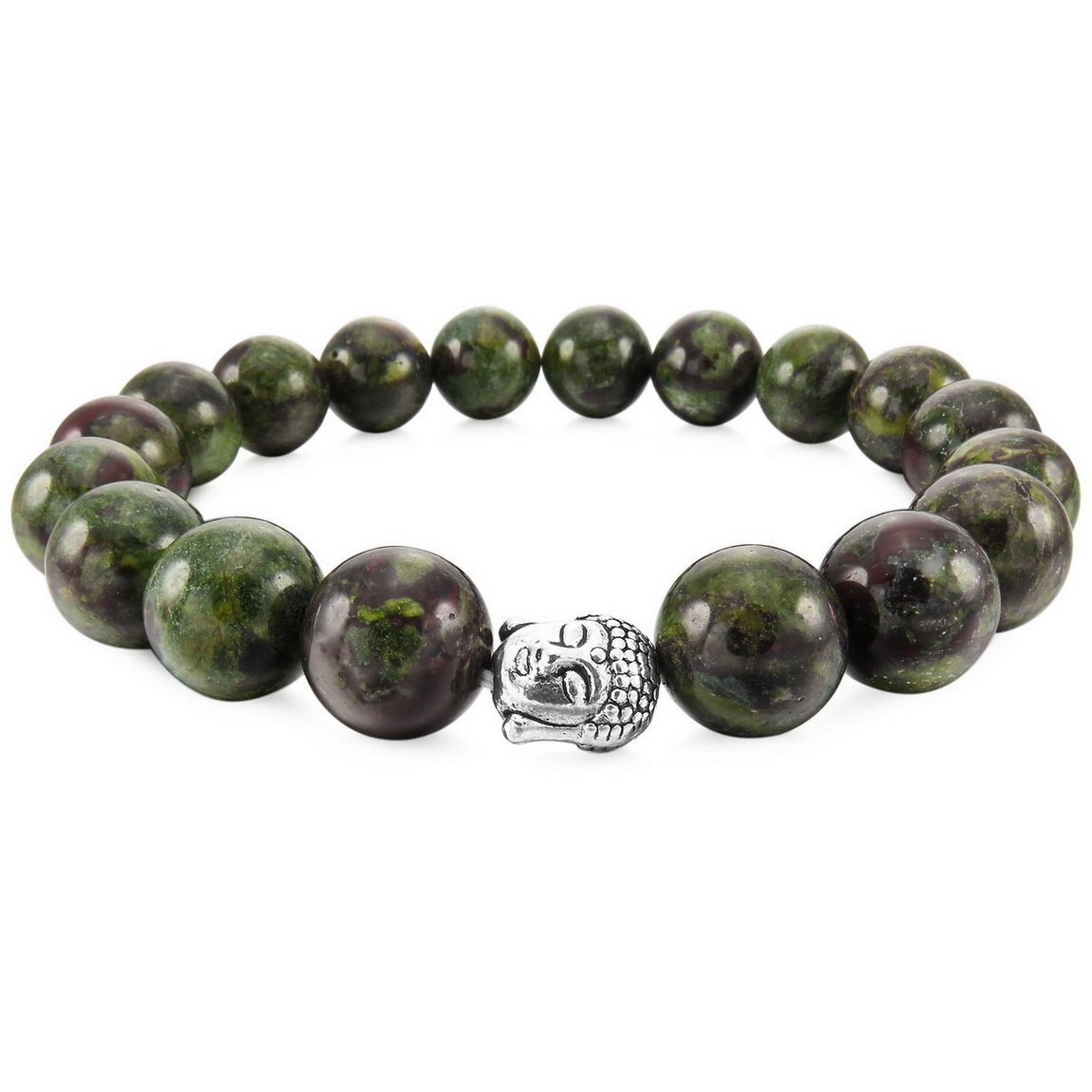 INBLUE Women,Men's 12mm Alloy Energy Bracelet Link Wrist Energy Stone Simulated Buddha Mala Bead